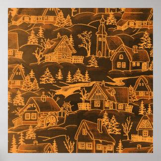 winter village,golden print