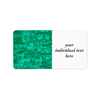 winter village,green personalized address labels