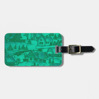 Winter village,green bag tags