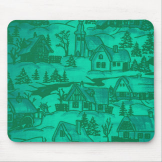 Winter village,green mouse pad