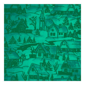 winter village,green poster