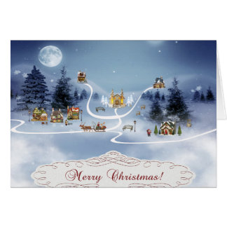 Winter Village, Merry Christmas Greeting Cards