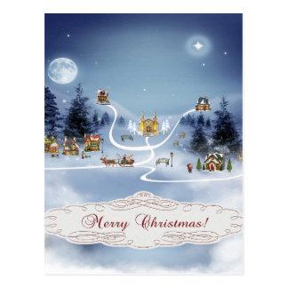 Winter Village, Merry Christmas Postcards