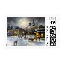 Winter Village Painting Postage Stamp