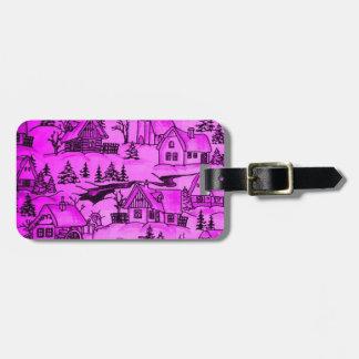 Winter village,pink bag tags