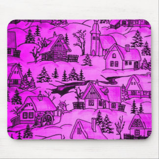 Winter village,pink mouse pad