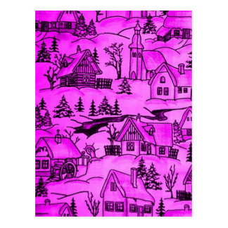 Winter village,pink postcard