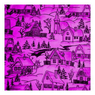 winter village,pink posters