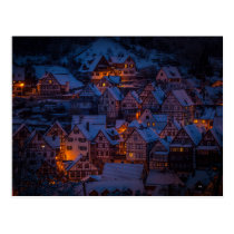 winter village postcard