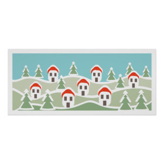 Winter village, red roof houses custom Poster