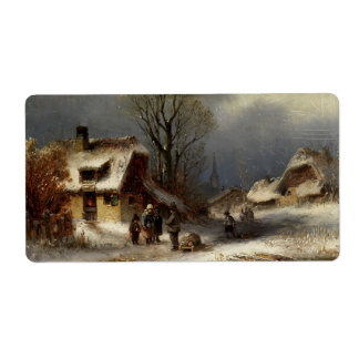 Winter Village Scene Personalized Shipping Labels