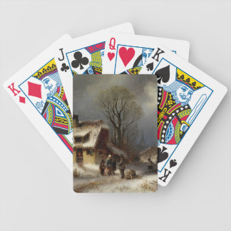 Winter Village Scene - Winterliche Dorszene Bicycle Playing Cards