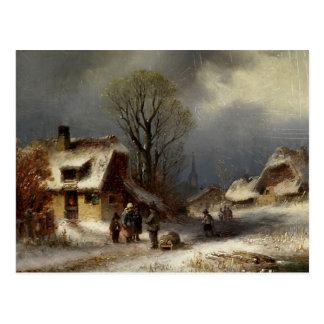 Winter Village Scene - Winterliche Dorszene Postcard