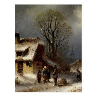 Winter Village Scene - Winterliche Dorszene Postcards