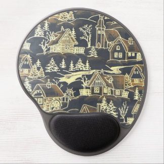 winter village,vintage gel mouse pad