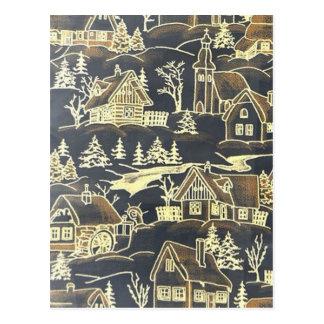 Winter Village, vintage Postcard