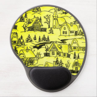 winter village,yellow gel mouse pad