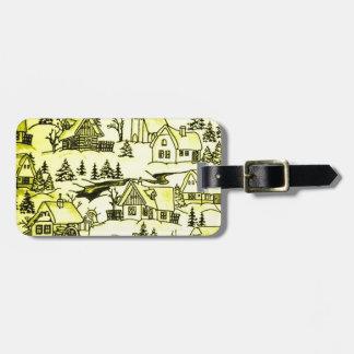 Winter Village, yellow Bag Tag