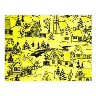 Winter Village, yellow Postcard