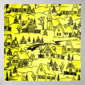 winter village,yellow print