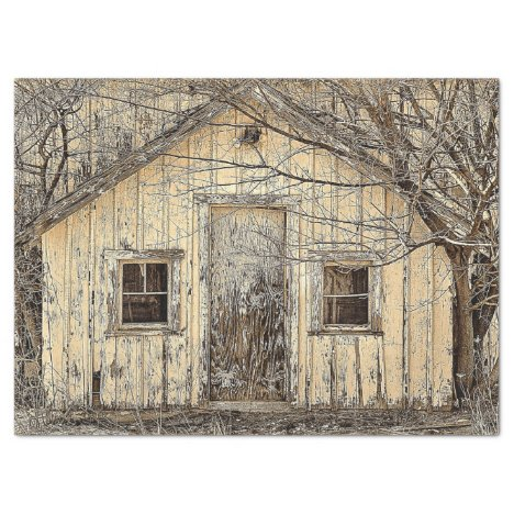 Winter Vintage Barn and Trees Decoupage Tissue Paper