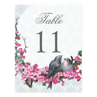 Winter Vintage Birds Wedding Table Number Postcard