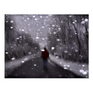 Winter Walk Abstract Postcard