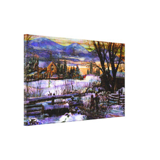 Winter Walk Home Boy Girl & Dog Mountain Texture E Canvas Print