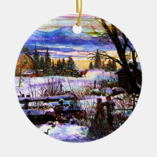 Winter Walk Home Boy Girl & Dog Christmas Tree Ornaments