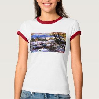Winter Walk Home Boy Girl & Dog T-Shirt