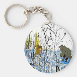Winter Warrior and Bear Keychain
