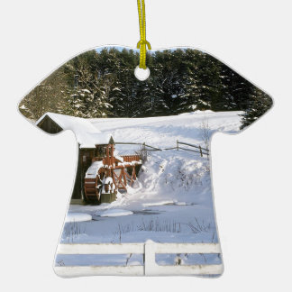 Winter Water Wheel Guildhall Vermont Double-Sided T-Shirt Ceramic Christmas Ornament