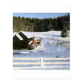 Winter Water Wheel Guildhall Vermont Post Card