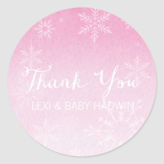 Winter Watercolor | Girl Baby Shower Favor Sticker