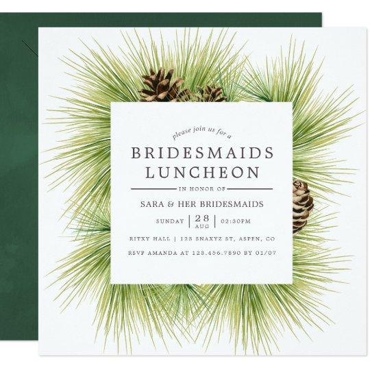 winter watercolor pines bridesmaids luncheon invitation zazzle com
