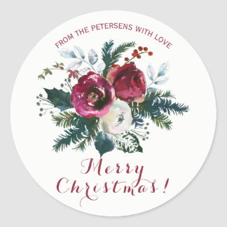 Winter watercolor red peonies bouquet Christmas Classic Round Sticker