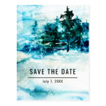 Winter Watercolor Snowy Forest Pine Save the Date Postcard