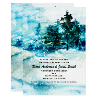 Winter Watercolor Snowy Forest Pine Trees Wedding Card
