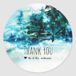 Winter Watercolor Snowy Forest Pine Trees Wedding Classic Round Sticker