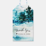 Winter Watercolor Snowy Forest Pine Trees Wedding Gift Tags