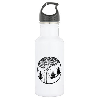 Winter Weather Scene Stainless Steel Water Bottle