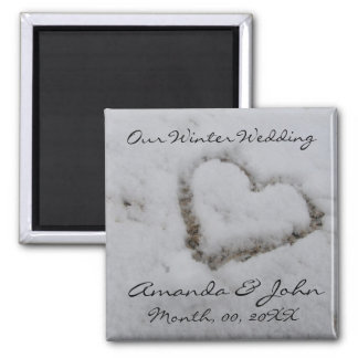 Winter Wedding 2 Inch Square Magnet