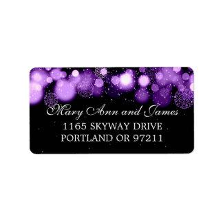 Winter Wedding Address Purple Lights Label