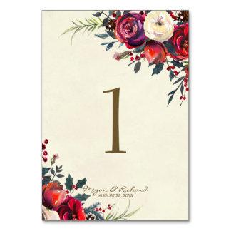 winter wedding berries wedding table number cards