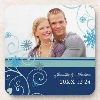 Winter Wedding Blue Snowflakes Photo Coasters