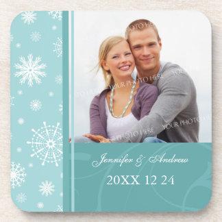 Winter Wedding Blue White Snow Photo Coasters