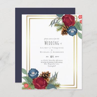 Winter Wedding Burgundy Teal Blue Modern