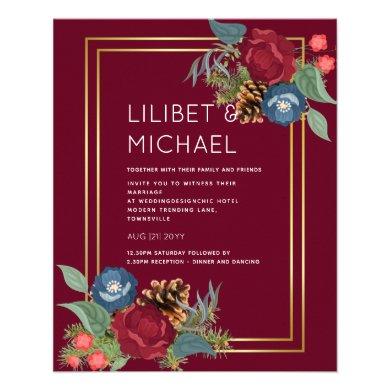 Winter Wedding Burgundy Teal Blue Modern Flyer