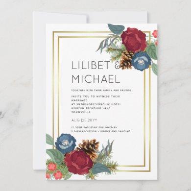 Winter Wedding Burgundy Teal Blue Modern Invitation