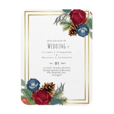 Winter Wedding Burgundy Teal Blue Modern Magnet